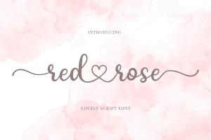 red rose romantic script font