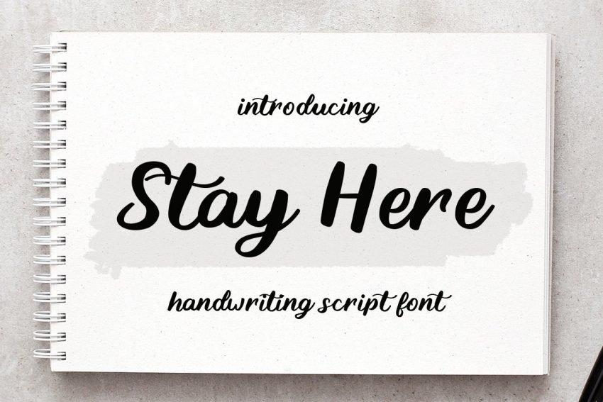 stay here handwritten font